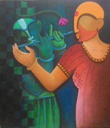 Anupam Pal | Acrylic Painting title Music To My Sorrow1 on Canvas | Artist Anupam Pal Gallery | ArtZolo.com