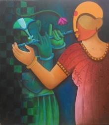 Anupam Pal Paintings | Acrylic Painting - Music To My Sorrow1 by artist Anupam Pal | ArtZolo.com