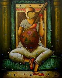 contemporary Acrylic Art Painting title The mesmerizing tunes by artist Anupam Pal