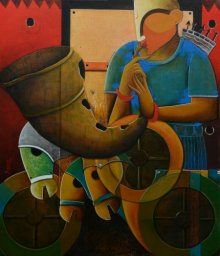 Anupam Pal | Acrylic Painting title Parthasarathi 10 on Canvas | Artist Anupam Pal Gallery | ArtZolo.com