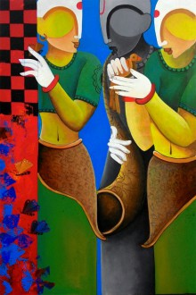 Figurative Gouache Art Painting title 'Conversation11' by artist Anupam Pal