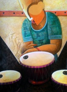 Figurative Acrylic Art Painting title 'Rhythm Divine 33' by artist Anupam Pal