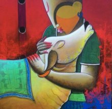 Anupam Pal | Acrylic Painting title Rhythmic conversation 2 on Canvas | Artist Anupam Pal Gallery | ArtZolo.com
