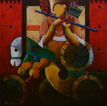 contemporary Acrylic Art Painting title 'Parthasarathi 15' by artist Anupam Pal