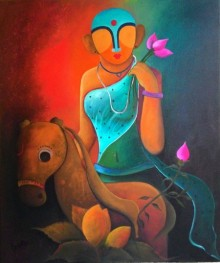 Anupam Pal | Acrylic Painting title Raving Beauty2 on Canvas | Artist Anupam Pal Gallery | ArtZolo.com
