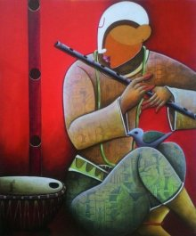 Figurative Acrylic Art Painting title 'Tunes of Devotion' by artist Anupam Pal