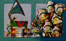 contemporary Acrylic Art Painting title 'Rhythmic Reverberations' by artist Anupam Pal