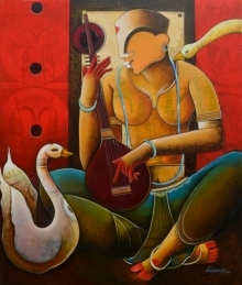 contemporary Acrylic Art Painting title 'Veenavani:' by artist Anupam Pal