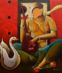 Anupam Pal | Acrylic Painting title Veenavani: on Canvas | Artist Anupam Pal Gallery | ArtZolo.com