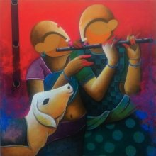 Anupam Pal | Acrylic Painting title The Dual Flautist on Canvas | Artist Anupam Pal Gallery | ArtZolo.com