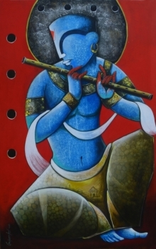 Anupam Pal | Acrylic Painting title The Mesmerizing Tunes 2 on canvas | Artist Anupam Pal Gallery | ArtZolo.com