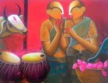 Conversation | Painting by artist Anupam Pal | acrylic | canvas