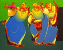 Motivational Acrylic Art Painting title 'Folk music II' by artist Shantkumar Hattarki