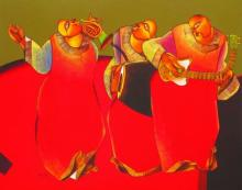 Motivational Acrylic Art Painting title 'Folk music III' by artist Shantkumar Hattarki