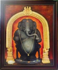 Religious Oil Art Painting title Idagunji Ganapati by artist B S B Goudar