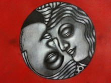 Figurative Mixed-media Art Painting title 'Yin Yang Couple' by artist Deblina Ghosh