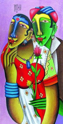 Mixed Media Painting titled 'Desire 4' by artist Jyoti Hatarki on Canvas Board