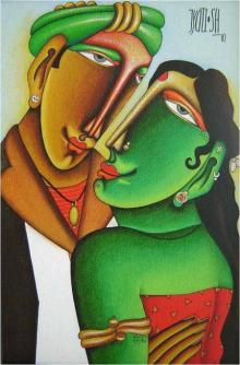 Mixed Media Painting titled 'Desire 2' by artist Jyoti Hatarki on Canvas Board