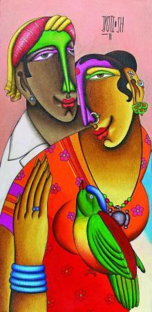 Mixed Media Painting titled 'Desire 5' by artist Jyoti Hatarki on Canvas Board