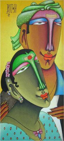 Mixed Media Painting titled 'Desire 3' by artist Jyoti Hatarki on Canvas Board