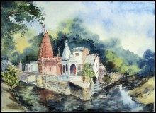 Landscape Watercolor Art Painting title 'Hanuman Temple' by artist Ghanshyam Dongarwar