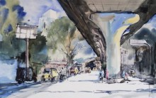 Ghanshyam Dongarwar | Watercolor Painting title Sitaburdi Overbridge on Hot Pressed | Artist Ghanshyam Dongarwar Gallery | ArtZolo.com