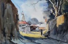 Ghanshyam Dongarwar | Watercolor Painting title HIngna Village on Hot Pressed | Artist Ghanshyam Dongarwar Gallery | ArtZolo.com
