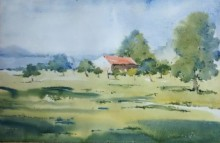 Ghanshyam Dongarwar Paintings | Landscape Painting - Backside of Mihan by artist Ghanshyam Dongarwar | ArtZolo.com