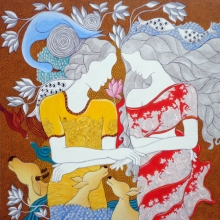 contemporary Acrylic-pen Art Painting title The Lovers by artist Hariom Kuthwaria
