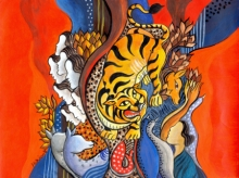 contemporary Acrylic Art Painting title Tiger is coming by artist Hariom Kuthwaria