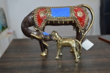 art, sculpture, brass, animal, cow