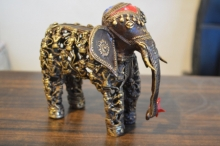Brass Sculpture titled 'Men Figure Elephant 5' by artist Kushal Bhansali