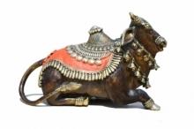 Kushal Bhansali | Shiva Nandi Sculpture by artist Kushal Bhansali on Brass | ArtZolo.com