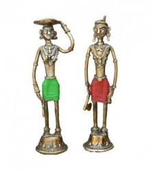 Tribal Standing Pair | Craft by artist Kushal Bhansali | Brass