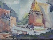 Landscape Watercolor Art Painting title '11111 006' by artist Prafulla Taywade