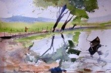 Landscape Watercolor Art Painting title ' surrealism' by artist Prafulla Taywade