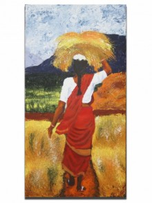 Figurative Acrylic Art Painting title 'Harvest woman' by artist Vignesh Kumar