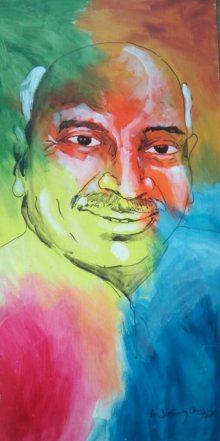 Portrait Acrylic Art Painting title 'Kamarajar' by artist Vignesh Kumar