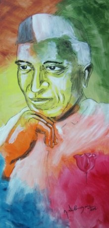 Figurative Acrylic Art Painting title 'Nehru' by artist Vignesh Kumar