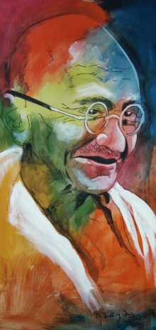 Figurative Acrylic Art Painting title 'Gandhi' by artist Vignesh Kumar