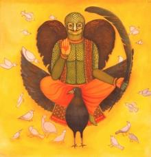 Figurative Acrylic Art Painting title 'Birdman' by artist Meenakshi Jha Banerjee