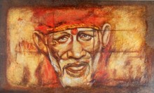 Realistic Oil Art Painting title 'Sai Baba II' by artist Anurag Swami