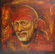 Realistic Oil Art Painting title 'Sai Baba III' by artist Anurag Swami