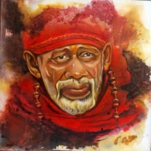Realistic Oil Art Painting title 'Sai Baba I' by artist Anurag Swami