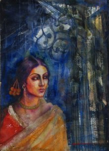 Figurative Watercolor Art Painting title 'Rani' by artist Harisadhan Dey