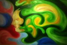 Tanuj Bhramar | Oil Painting title The Lady Door on Canvas | Artist Tanuj Bhramar Gallery | ArtZolo.com