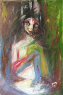 Tanuj Bhramar | Oil Painting title Waiting on Canvas | Artist Tanuj Bhramar Gallery | ArtZolo.com