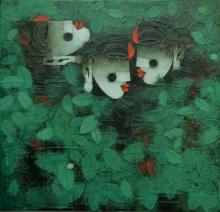 Figurative Acrylic Art Painting title Dance To The Tune 2 by artist Basuki Dasgupta