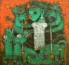 Religious Acrylic Art Painting title Devi by artist Basuki Dasgupta