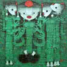 Religious Acrylic Art Painting title Devi 2 by artist Basuki Dasgupta
